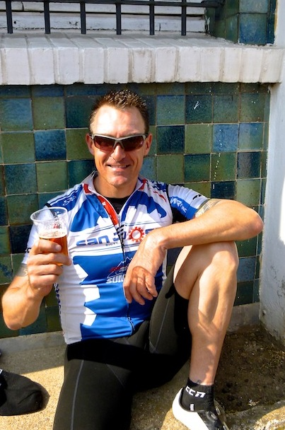 Lee enjoys a beer after one of his Belgian rides